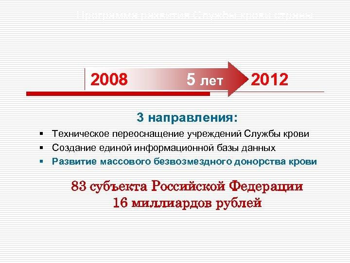 Программа развития Службы крови страны 2008 5 лет 2012 3 направления: § Техническое переоснащение