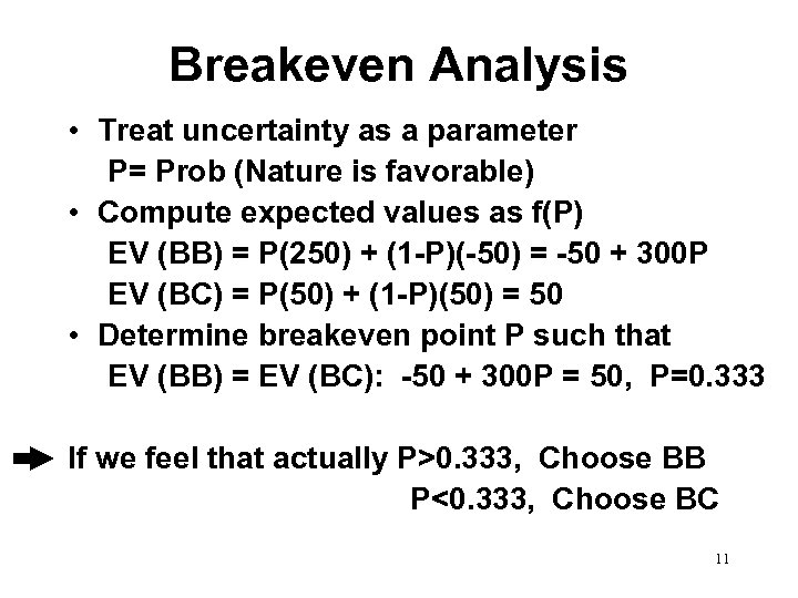Breakeven Analysis • Treat uncertainty as a parameter P= Prob (Nature is favorable) •
