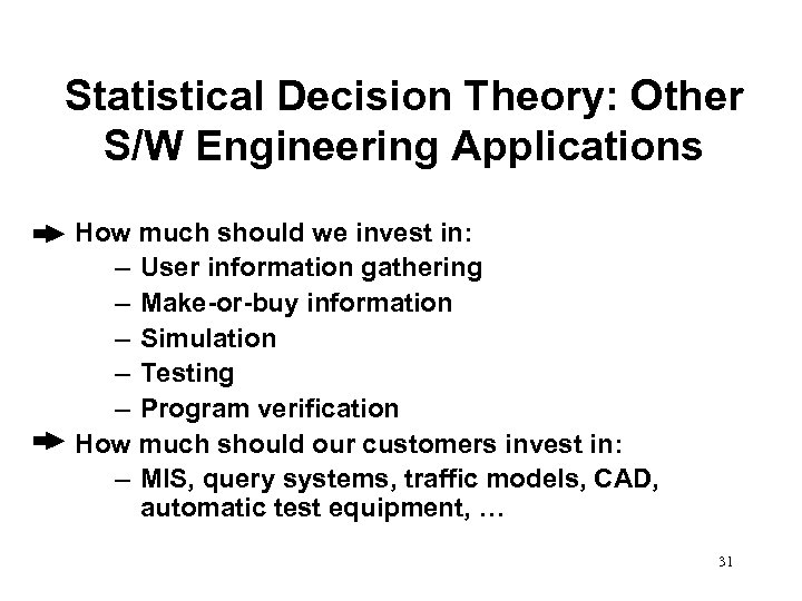 Statistical Decision Theory: Other S/W Engineering Applications How much should we invest in: –