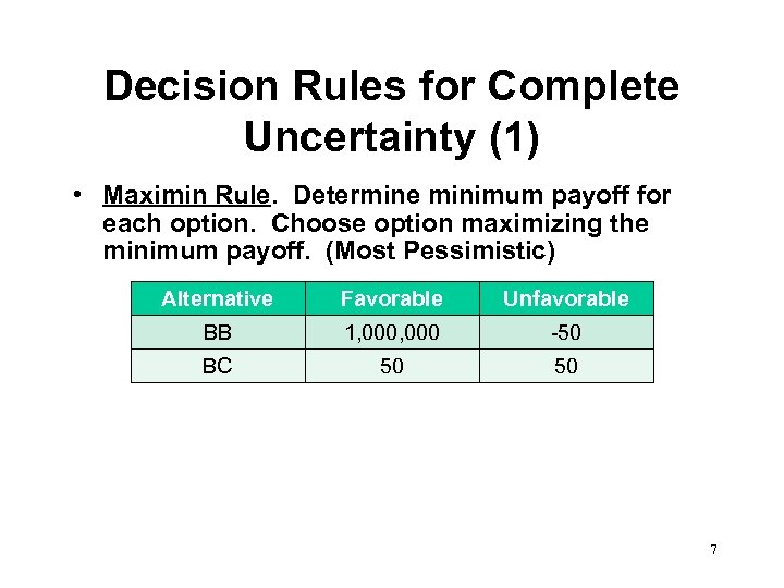Decision Rules for Complete Uncertainty (1) • Maximin Rule. Determine minimum payoff for each