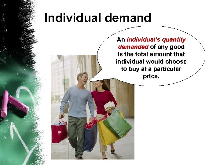 Individual demand An individual's quantity demanded of any good is the total amount that
