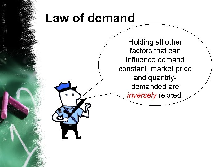 Law of demand Holding all other factors that can influence demand constant, market price