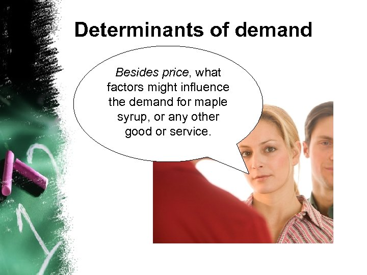 Determinants of demand Besides price, what factors might influence the demand for maple syrup,