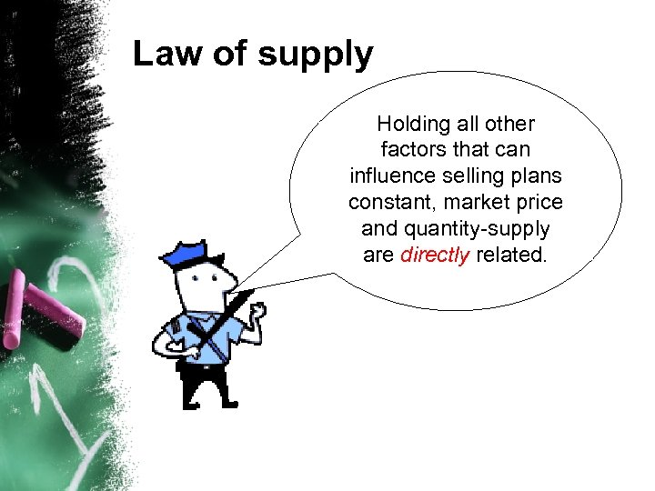 Law of supply Holding all other factors that can influence selling plans constant, market