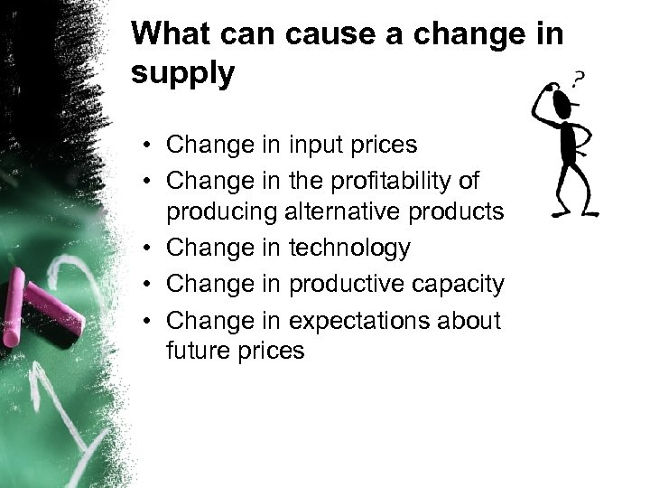 What can cause a change in supply • Change in input prices • Change