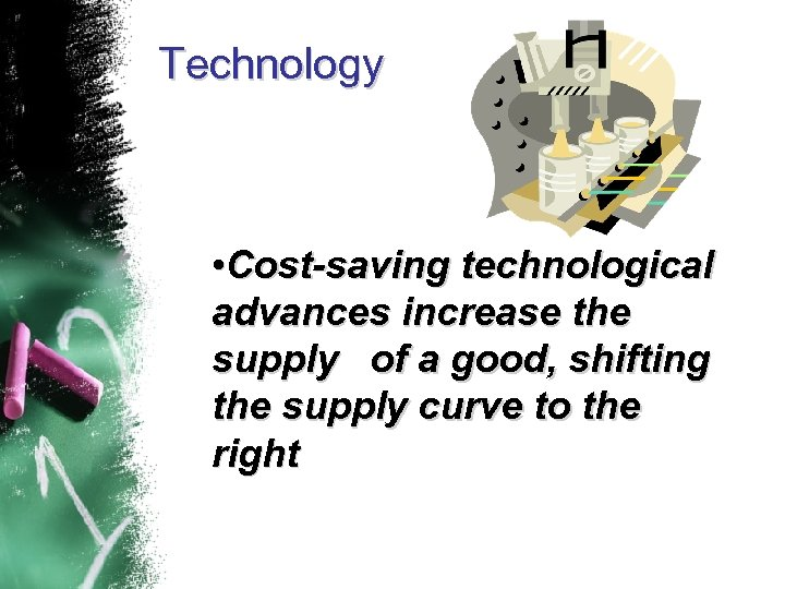 Technology • Cost-saving technological advances increase the supply of a good, shifting the supply
