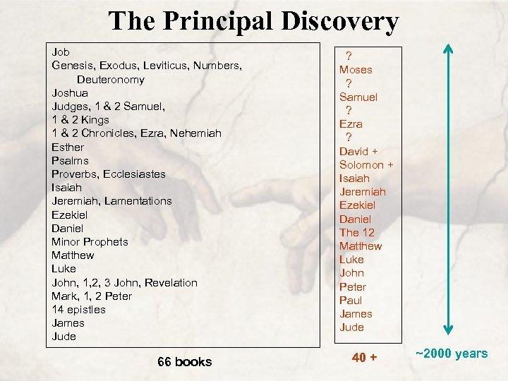 The Principal Discovery Job Genesis, Exodus, Leviticus, Numbers, Deuteronomy Joshua Judges, 1 & 2