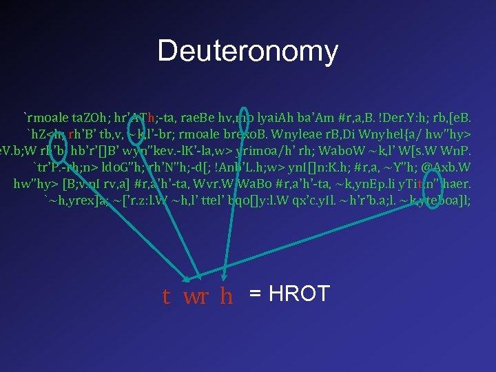Deuteronomy `rmoale ta. ZOh; hr'ATh; -ta, rae. Be hv, mo lyai. Ah ba'Am #r,