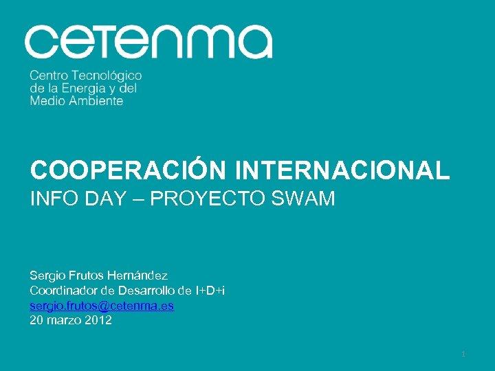 COOPERACIÓN INTERNACIONAL INFO DAY – PROYECTO SWAM Sergio Frutos Hernández Coordinador de Desarrollo de