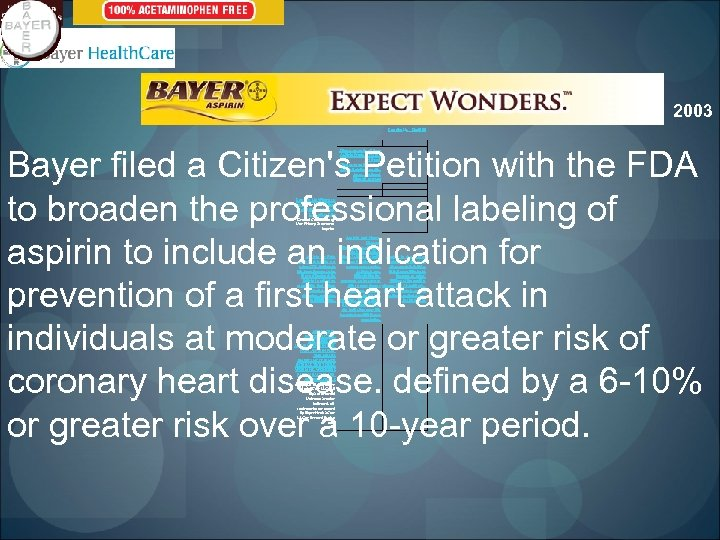 2003 Contact Us Sitemap Bayer filed a Citizen's Petition with the FDA to broaden