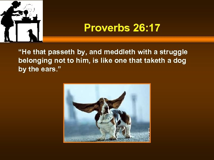 "Proverbs 26: 17 ""He that passeth by, and meddleth with a struggle belonging not"