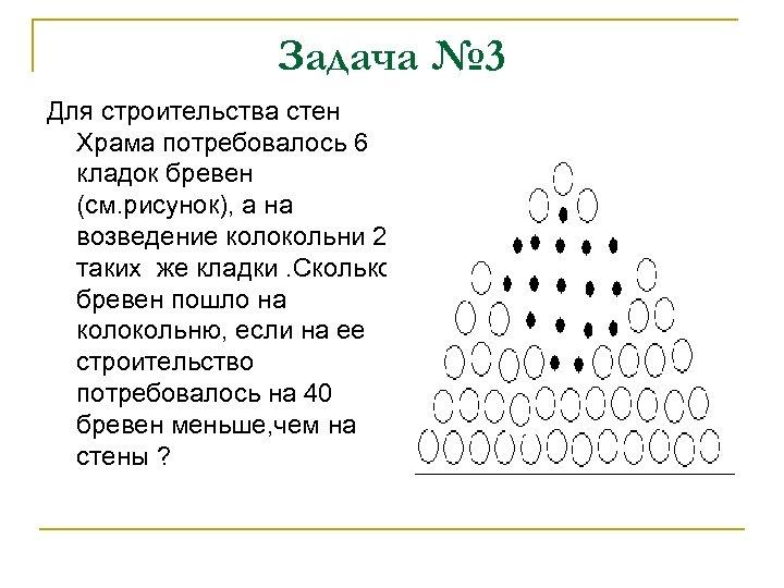 Задача № 3 Для строительства стен Храма потребовалось 6 кладок бревен (см. рисунок), а