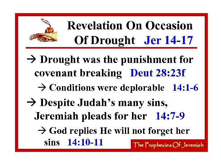 Revelation On Occasion Of Drought Jer 14 -17 à Drought was the punishment for