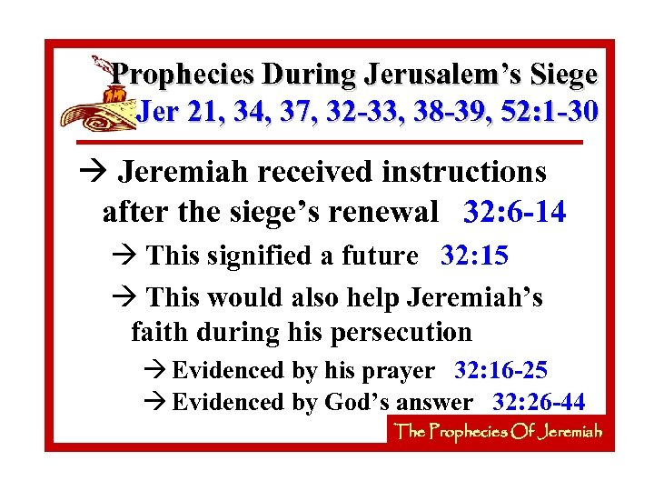Prophecies During Jerusalem's Siege Jer 21, 34, 37, 32 -33, 38 -39, 52: 1