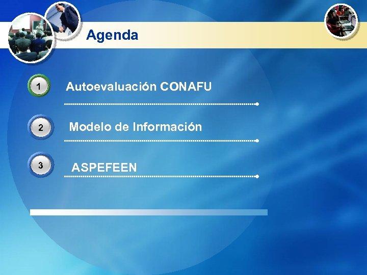 Agenda 1 2 3 Autoevaluación CONAFU Modelo de Información ASPEFEEN