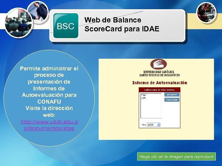 Web de Balance Recursos Multimedia BSC Score. Card para IDAE Permite administrar el proceso