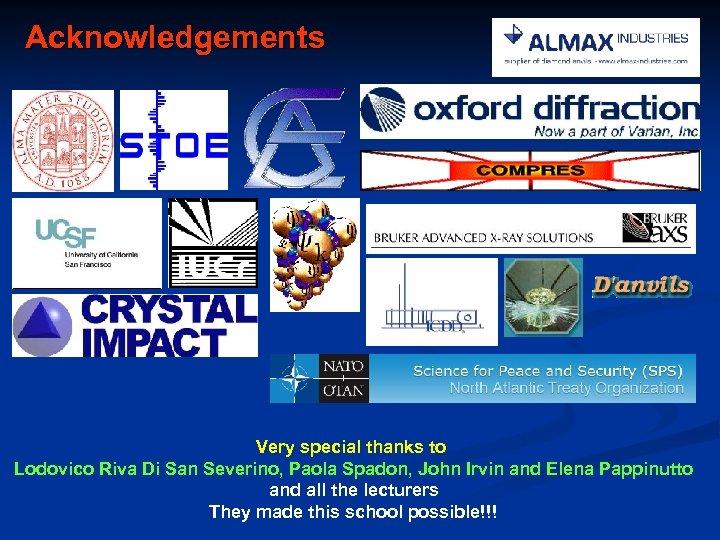 Acknowledgements Very special thanks to Lodovico Riva Di San Severino, Paola Spadon, John Irvin