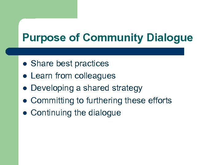 Purpose of Community Dialogue l l l Share best practices Learn from colleagues Developing