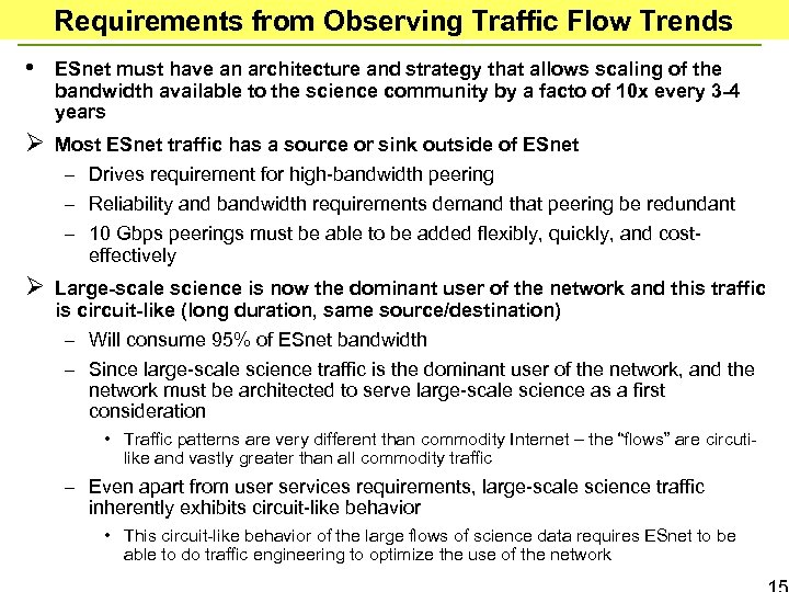 Requirements from Observing Traffic Flow Trends • ESnet must have an architecture and strategy