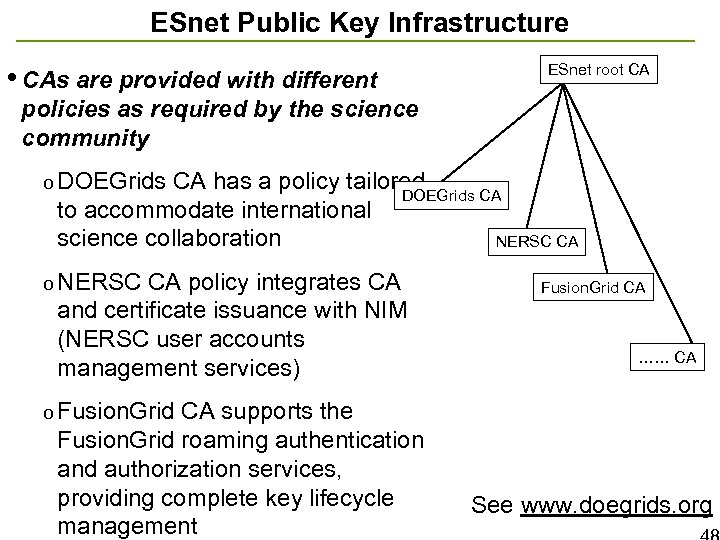 ESnet Public Key Infrastructure • CAs are provided with different ESnet root CA policies