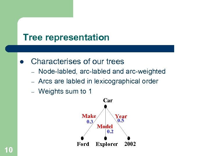 Tree representation l Characterises of our trees – – – Node-labled, arc-labled and arc-weighted