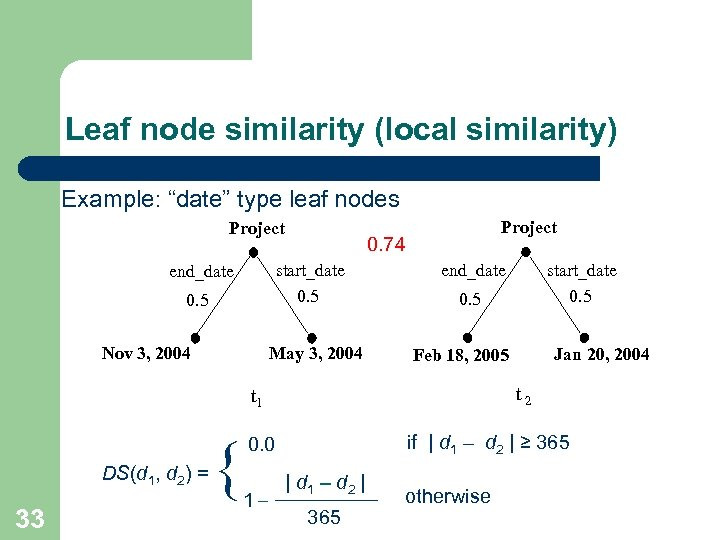 """Leaf node similarity (local similarity) Example: """"date"""" type leaf nodes Project 0. 74 start_date"""