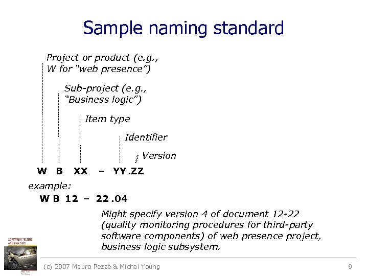 "Sample naming standard Project or product (e. g. , W for ""web presence"") Sub-project"