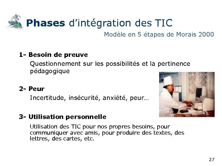Phases d'intégration des TIC Modèle en 5 étapes de Morais 2000 1 - Besoin