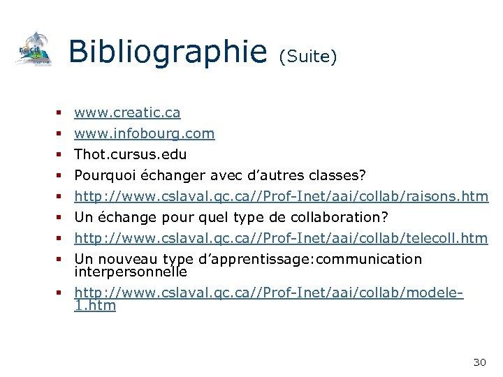 Bibliographie (Suite) § § § § www. creatic. ca www. infobourg. com Thot. cursus.