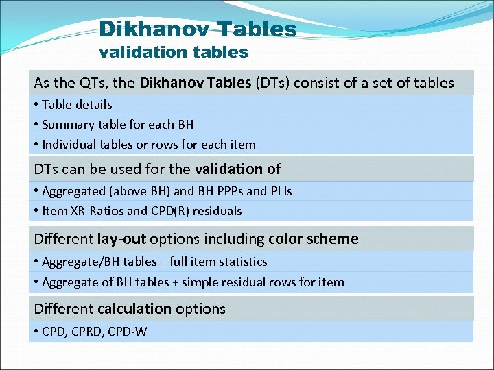 Dikhanov Tables validation tables As the QTs, the Dikhanov Tables (DTs) consist of a