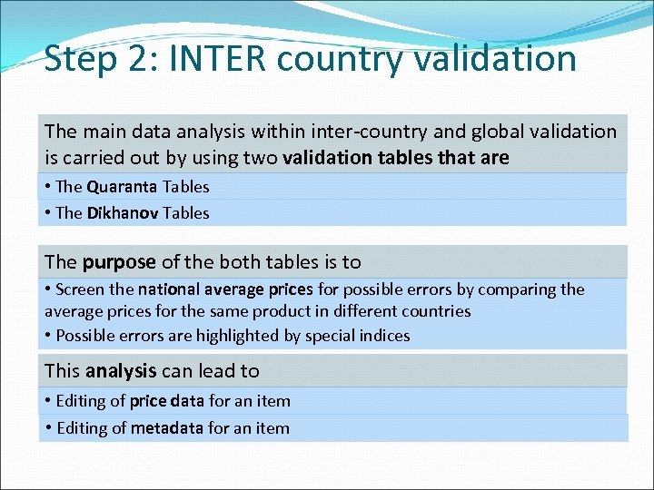 Step 2: INTER country validation The main data analysis within inter-country and global validation