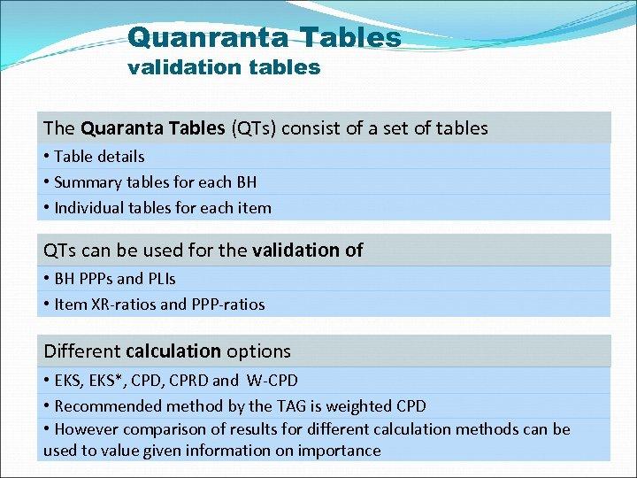 Quanranta Tables validation tables The Quaranta Tables (QTs) consist of a set of tables
