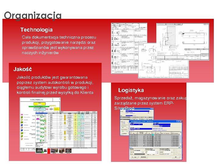 Organizacja Technologia Cała dokumentacja techniczna procesu produkcji, przygotowanie narzędzi oraz sprawdzianów jest wykonywana przez
