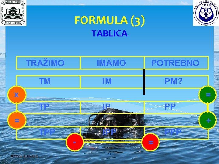 FORMULA (3) TABLICA TRAŽIMO IMAMO TM POTREBNO IM PM? x = TP PP IP