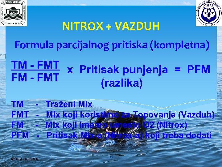 NITROX + VAZDUH Formula parcijalnog pritiska (kompletna) TM - FMT x Pritisak punjenja =