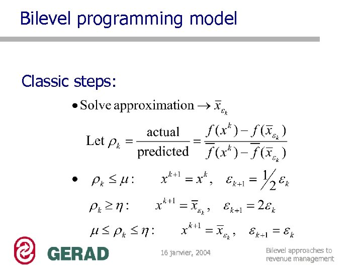 Bilevel programming model Classic steps: 16 janvier, 2004 Bilevel approaches to revenue management