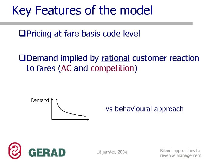 Key Features of the model q Pricing at fare basis code level q Demand