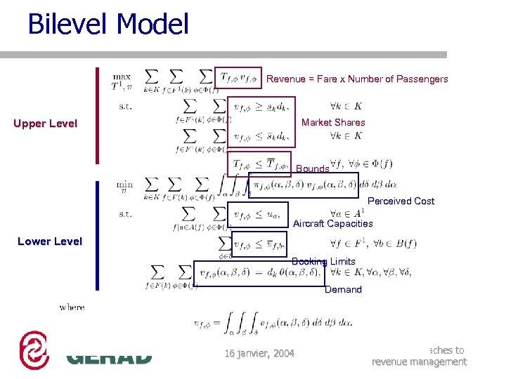 Bilevel Model Revenue = Fare x Number of Passengers Market Shares Upper Level Bounds