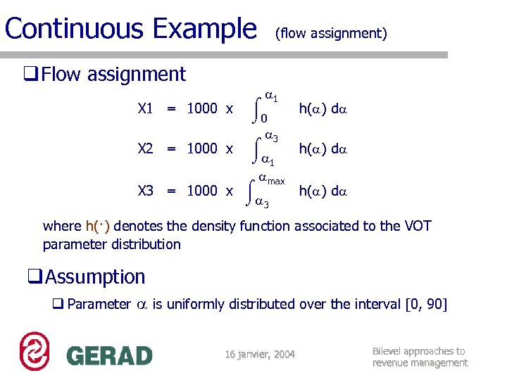 Continuous Example q Flow assignment (flow assignment) 1 0 3 X 2 = 1000