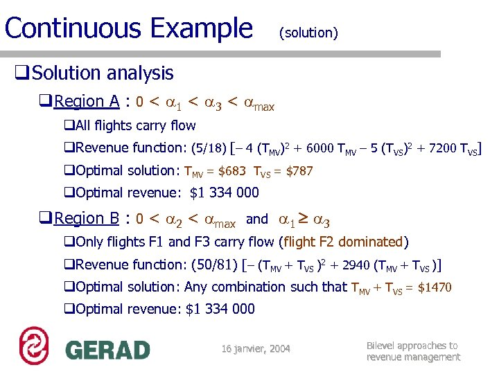 Continuous Example (solution) q Solution analysis q. Region A : 0 < 1 <