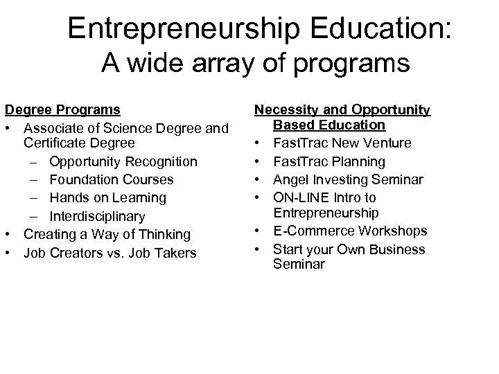 Entrepreneurship Education: A wide array of programs Degree Programs • Associate of Science Degree