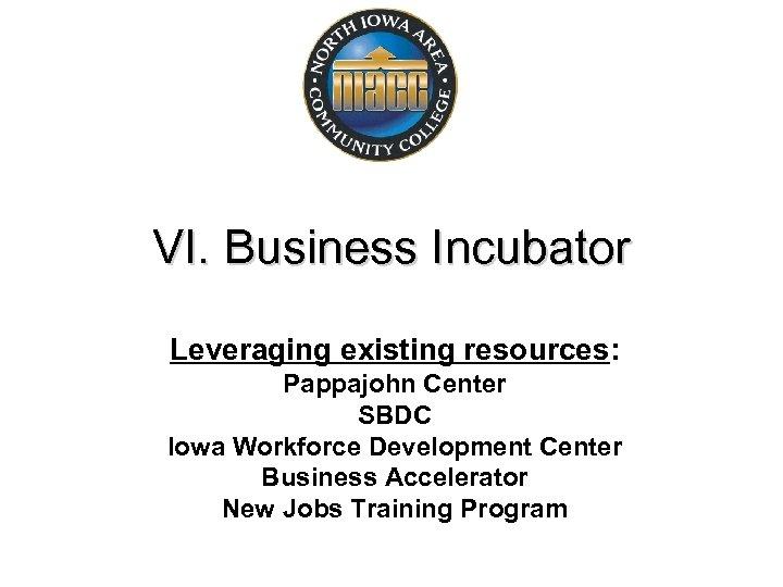VI. Business Incubator Leveraging existing resources: Pappajohn Center SBDC Iowa Workforce Development Center Business