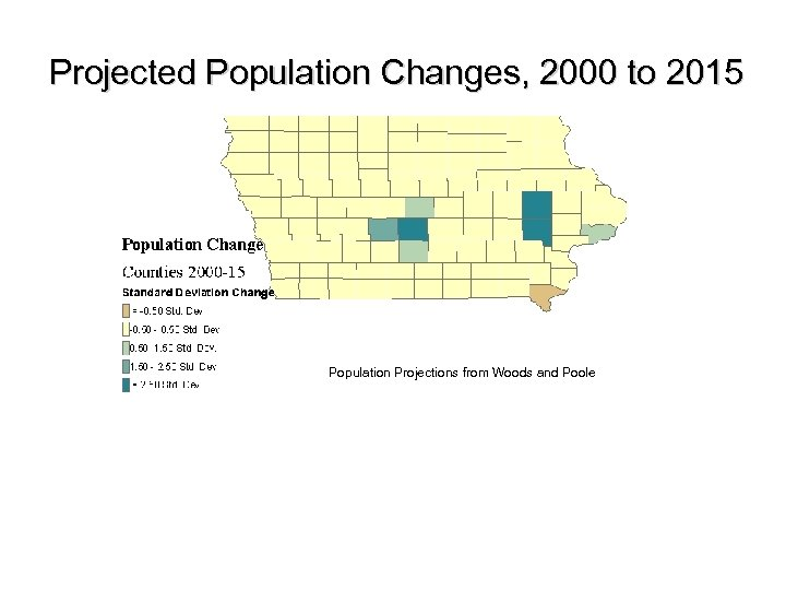Projected Population Changes, 2000 to 2015 Population Projections from Woods and Poole