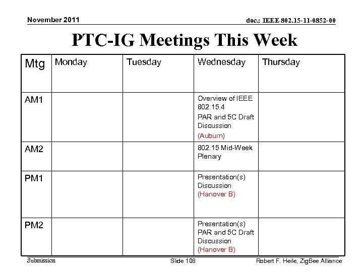 November 2011 doc. : IEEE 802. 15 -11 -0852 -00 PTC-IG Meetings This Week