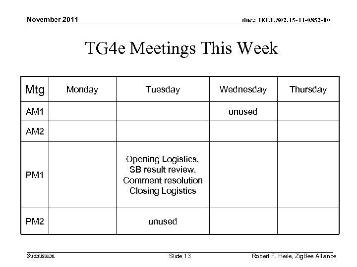 November 2011 doc. : IEEE 802. 15 -11 -0852 -00 TG 4 e Meetings
