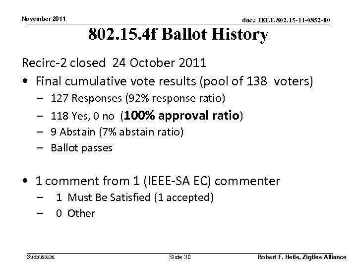 November 2011 doc. : IEEE 802. 15 -11 -0852 -00 802. 15. 4 f
