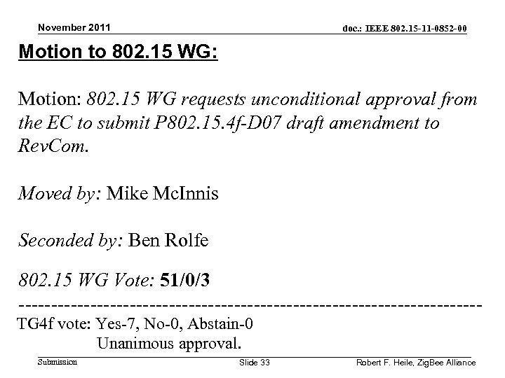 November 2011 doc. : IEEE 802. 15 -11 -0852 -00 Motion to 802. 15