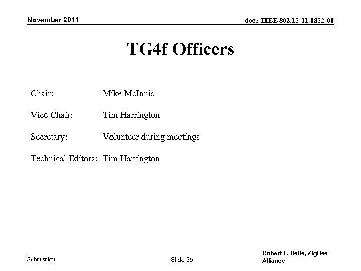November 2011 doc. : IEEE 802. 15 -11 -0852 -00 TG 4 f Officers