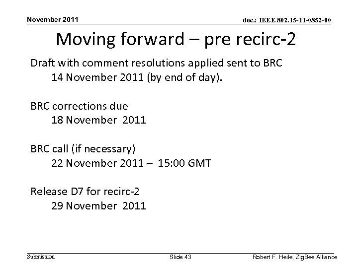 November 2011 doc. : IEEE 802. 15 -11 -0852 -00 Moving forward – pre
