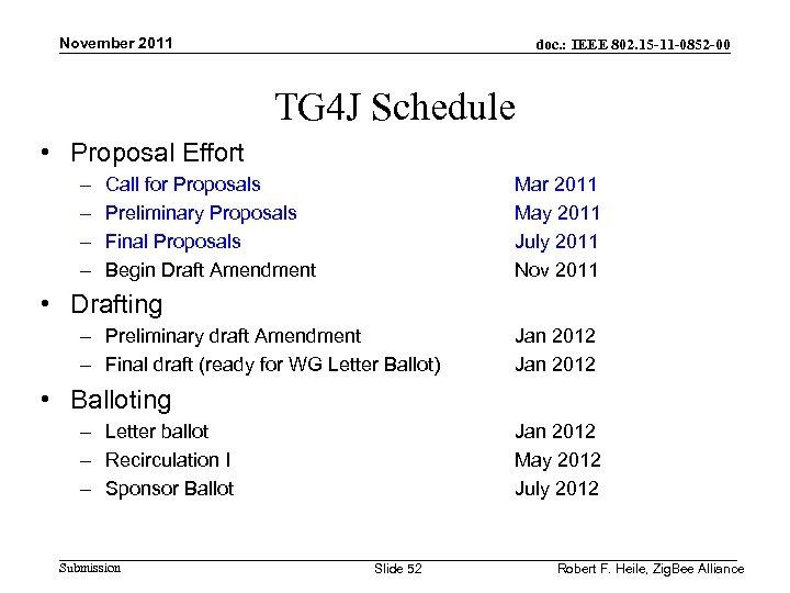 November 2011 doc. : IEEE 802. 15 -11 -0852 -00 TG 4 J Schedule